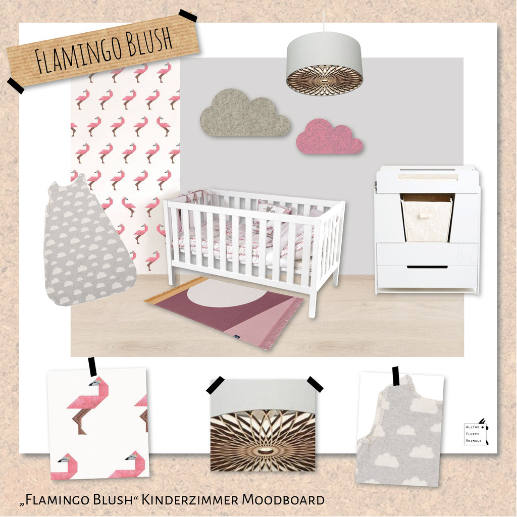 Flamingo Blush - Kinderzimmer Moodboard