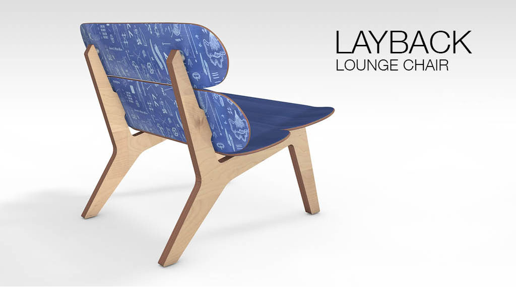 Loungechair oder auch Skateboardloungechair. Designer Sessel aus 4 Ahorn Skateboards, handgefertigt in Stuttgart. A skateboard lounge chair made from maple decks and birch plywood.