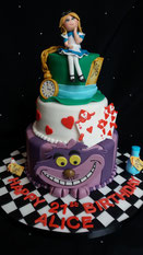 3 Tier Alice in wonderland Birthday cake with Alice, the Mad Hatters hat, pocket watch, Cheshire Cat and cards