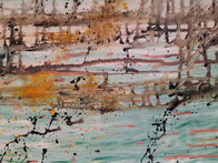 """No train Stop!"", 2020, 120 cm × 30 cm, oil, pigments on canvas, copyright Christina Mitterhuber"