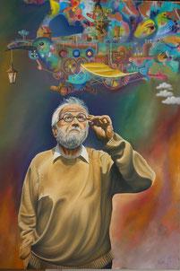 Granddad's Dream-Machine, Mixed Media on Canvas, 70 x 100 cm, Private
