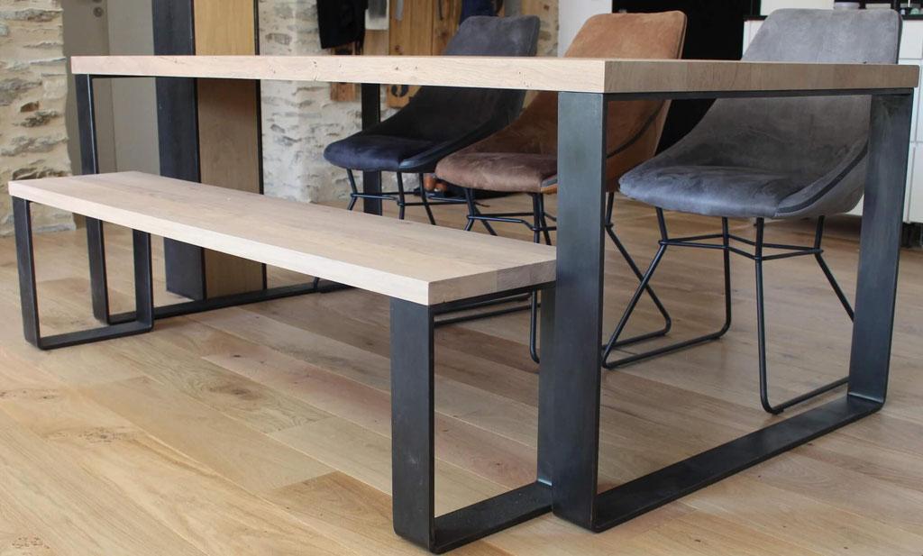 pied de table en métal aspect industriel - Finition patine gris anthracite