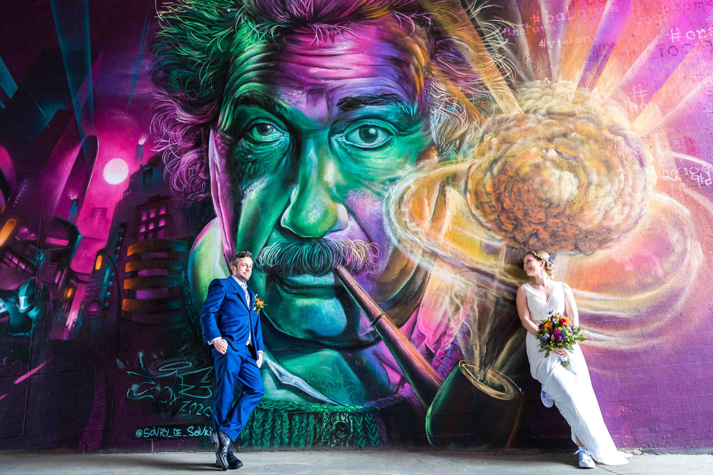 Hochzeitsbilder mit Graffiti, Hochzeitsfotos mit Graffiti, Lustige Hochzeitsbilder, Hochzeitsfotograf Mainz-Kostheim, Graffiti Hochzeitspaar, Graffiti Mainz-Kastel Theodor Heuss Brücke