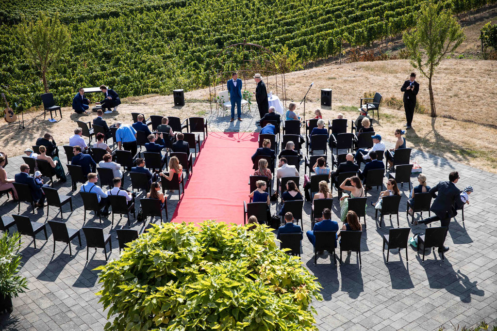 Hofgut Donnersberg, Außerhalb 3, 55578 Vendersheim, Hochzeitsfotograf, Hochzeitsbilder, Hochzeitsfoto, Aussicht auf die freie Trauung im Hofgut Donnersberg