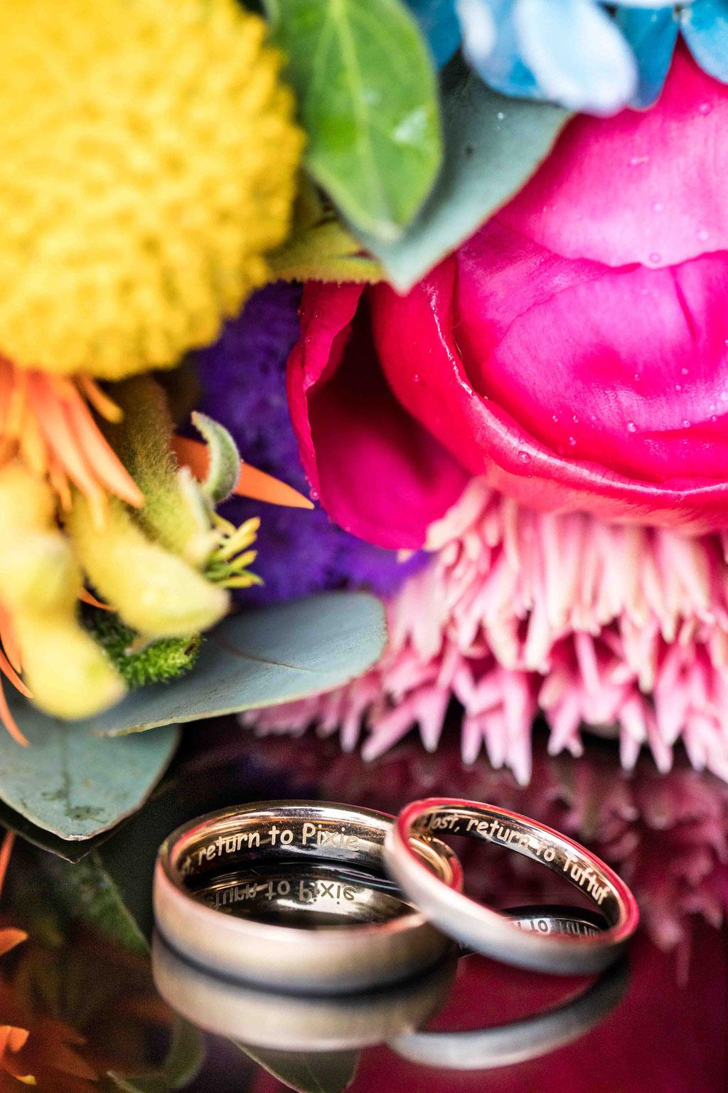 Makro Hochzeitsringe, Hochzeitsbild Eheringe