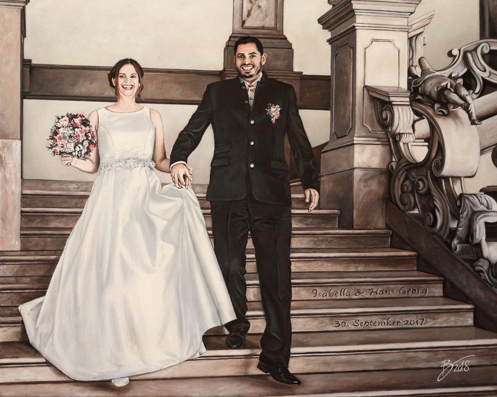 """Hochzeitsbild """"Isabella & Hans Georg"""" - 80x100cm - Acryl auf Leinwand"""