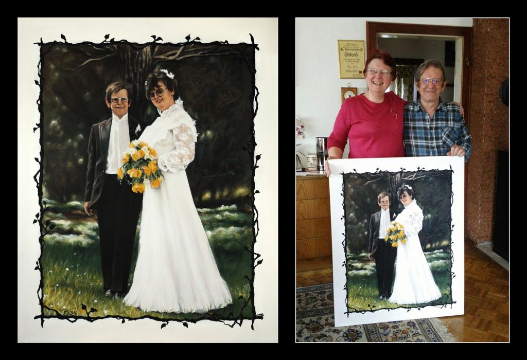 """Hochzeitsbild """"Brigitte & Werner"""" - 80x100cm - Acryl auf Leinwand"""