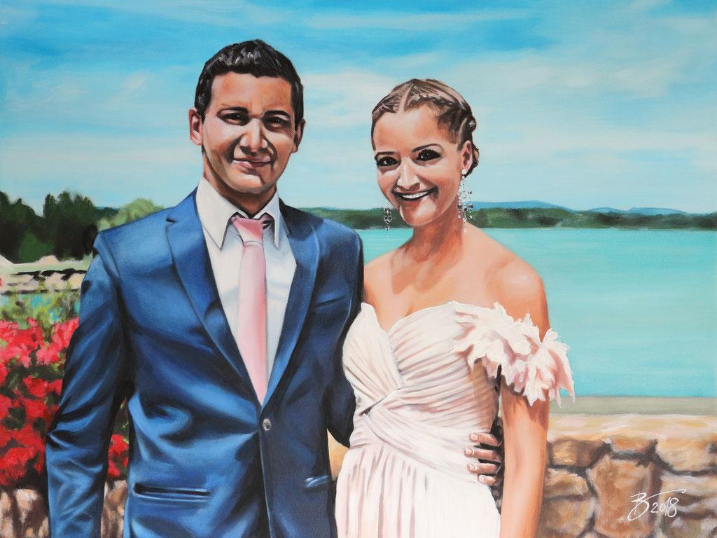 "Partnerbild ""Patrick und Stefanie"" - 60x80cm - Acryl auf Leinwand"