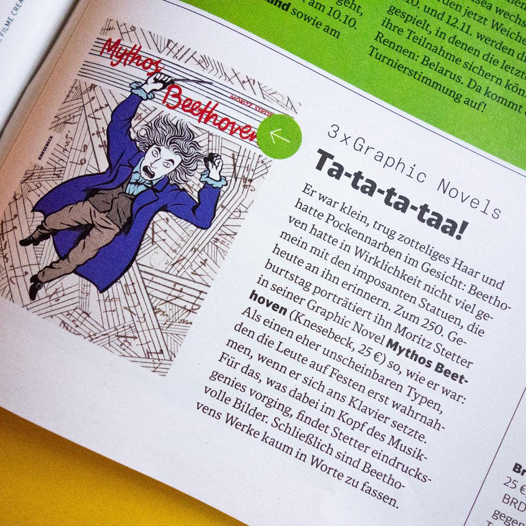 """Moritz Stetter """"Mythos Beethoven"""" Graphic Novel, Artikel in DB mobil"""