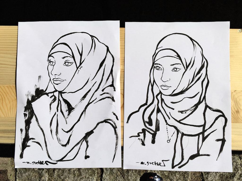 Portraitzeichnen beim Sommerfest der Zentralen Erstaufnahme Hamburg Harburg. Foto © Sandra Scibisz