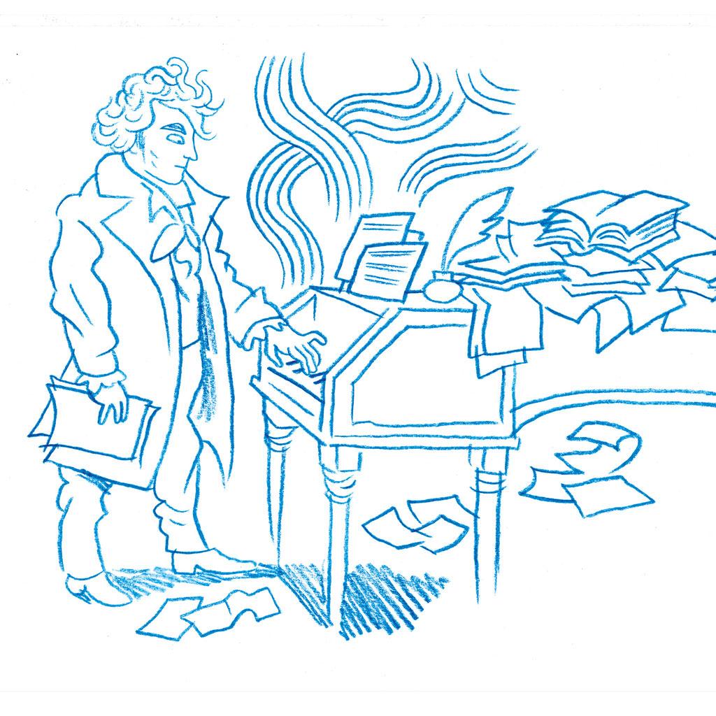 """Skizze zu """"Mythos Beethoven"""" Graphic Novel, Moritz Stetter, im Knesebeck Verlag"""