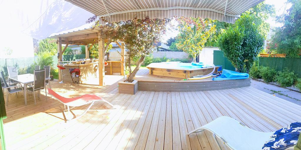 terrasse sapin traité classe 4 piscine bois + pergola bar extérieur