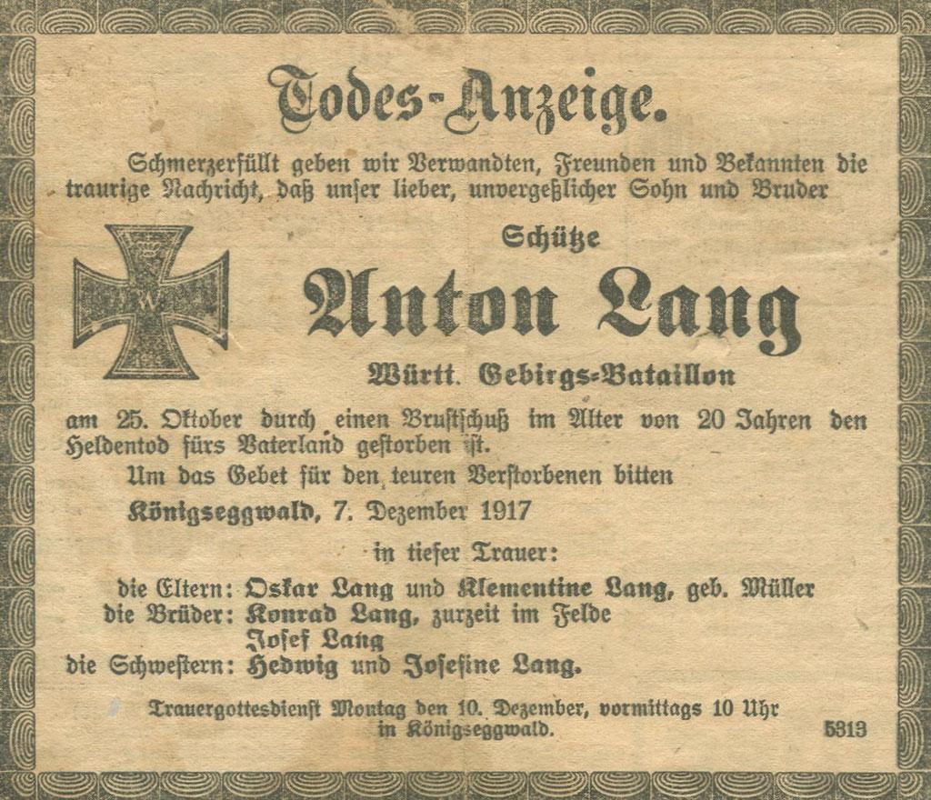 Die Sterbeanzeige des Schützen Anton Lang. Sammlung Isonzofront.de