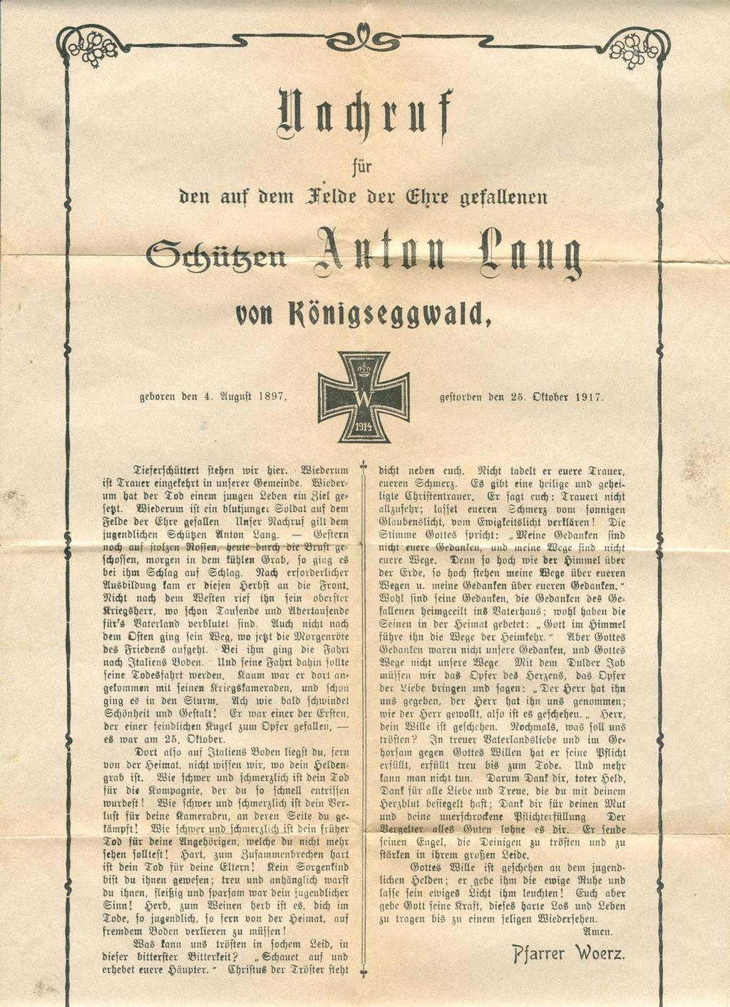 Nachruf für den Schützen Anton Lang. Sammlung Isonzofront.de