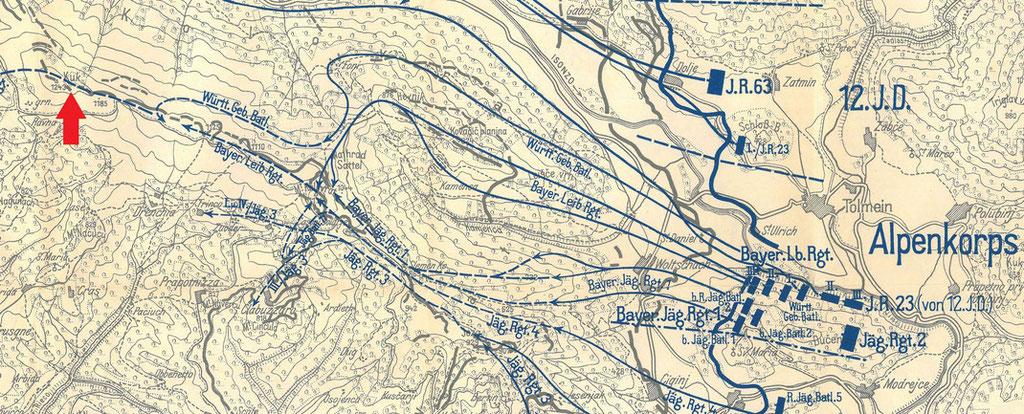 Übersichtskarte. Der rote Pfeil markiert den Mt. Kuk.