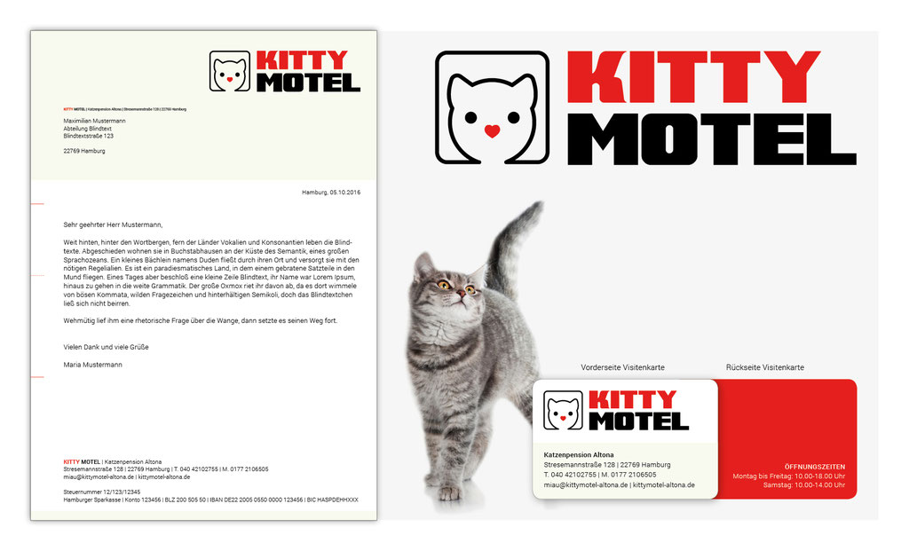 Logodesign, Briefpapier, Visitenkarten | Kitty Motel - Katzenpenison Altona