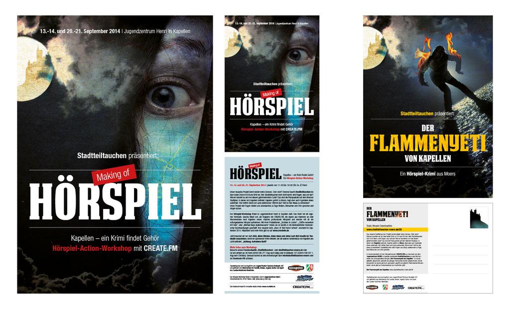 Flyer, Plakate u. Postkarten | Hörspielworkshop | Stadt Moers