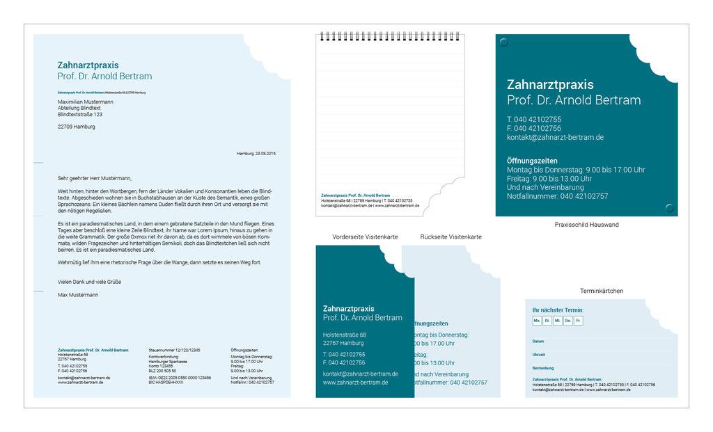 Briefpapier, Visitenkarten, Terminkärtchen, Notizblöcke, Praxisschild | Zahnarztpraxis Prof. Dr. Arnold Bertram