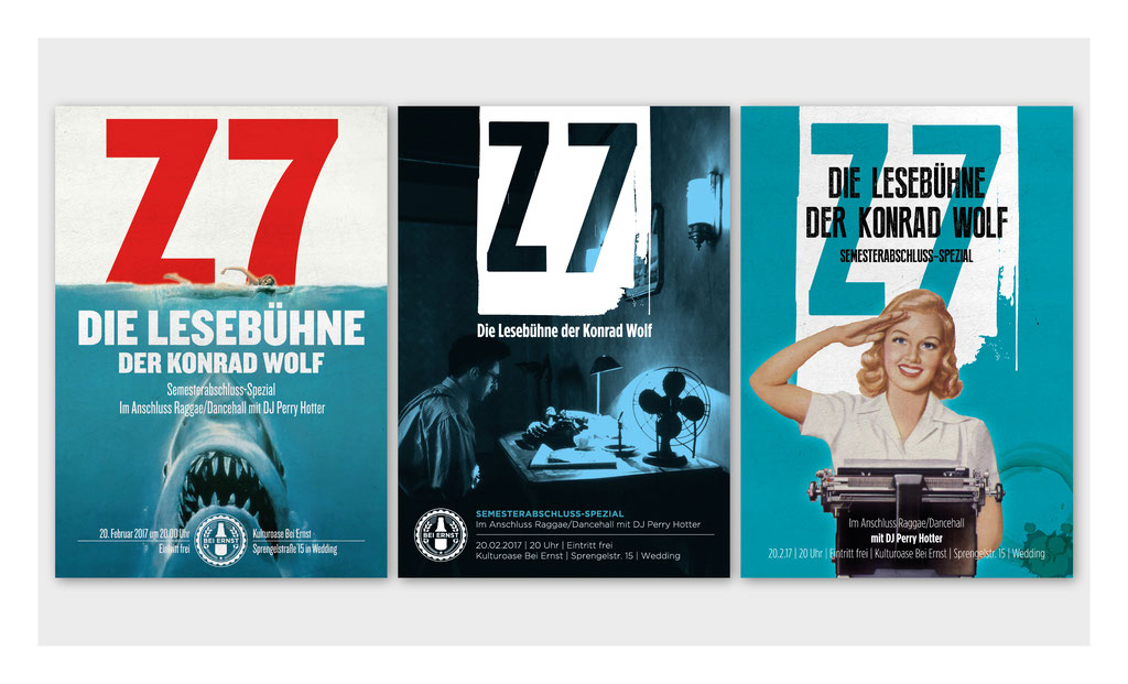 "Plakatentwürfe Lesebühne ""Z7"" | Filmuniversität Babelsberg Konrad Wolf, Berlin"
