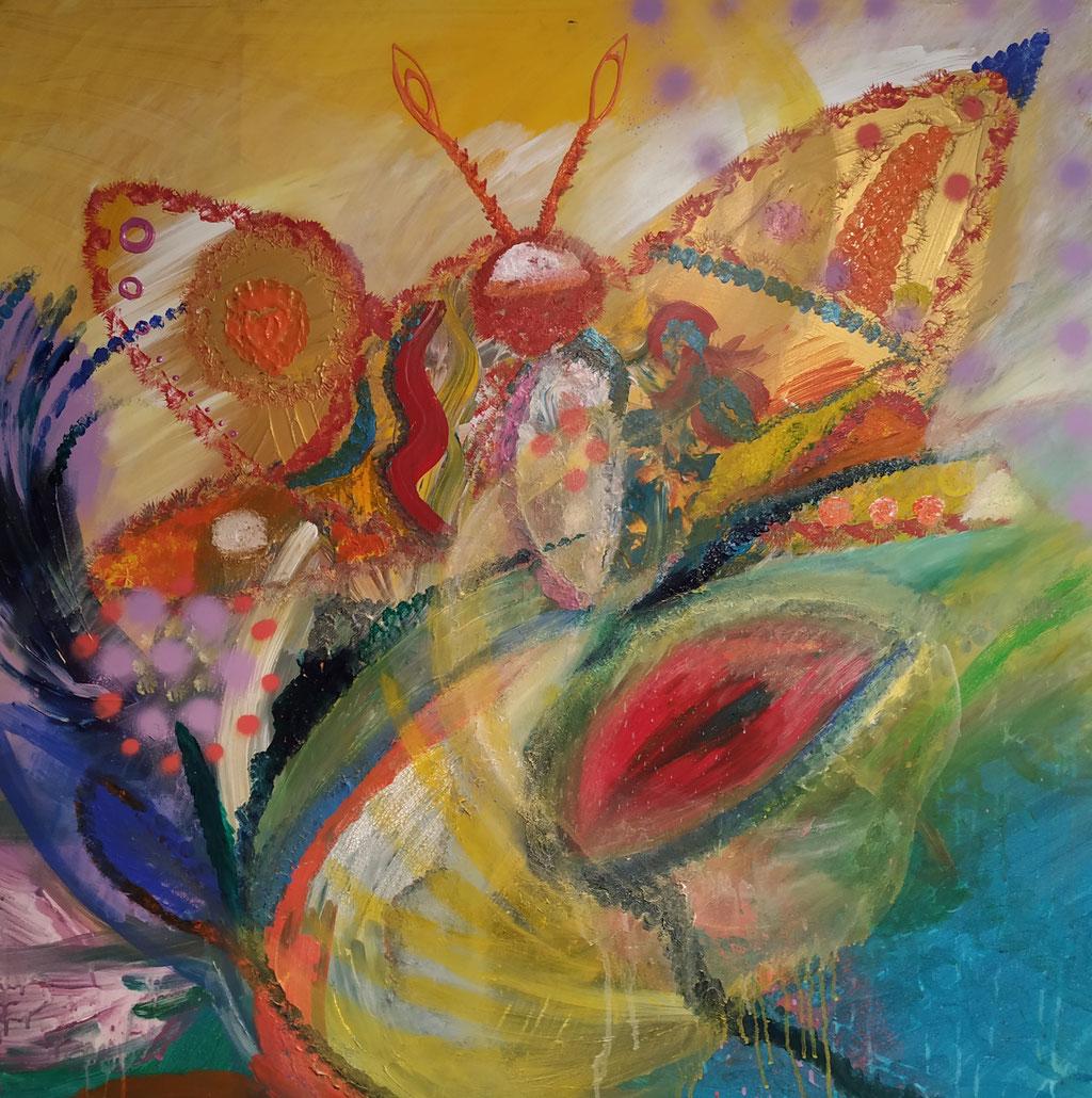 Schmetterling flieg    100 cm x 100 cm