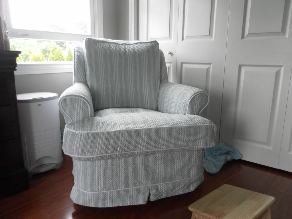 Nursery chair slip covered to match decor