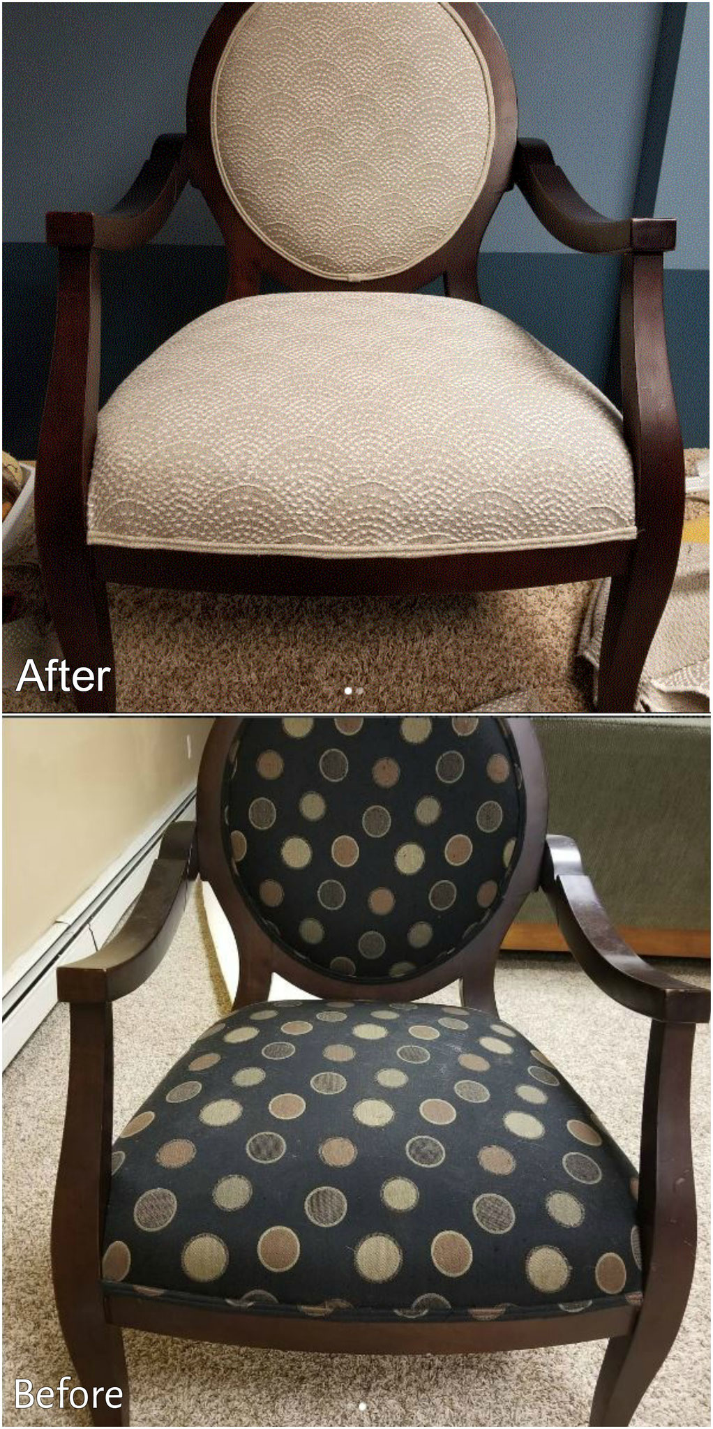 Light and Bring reupholstered chairs