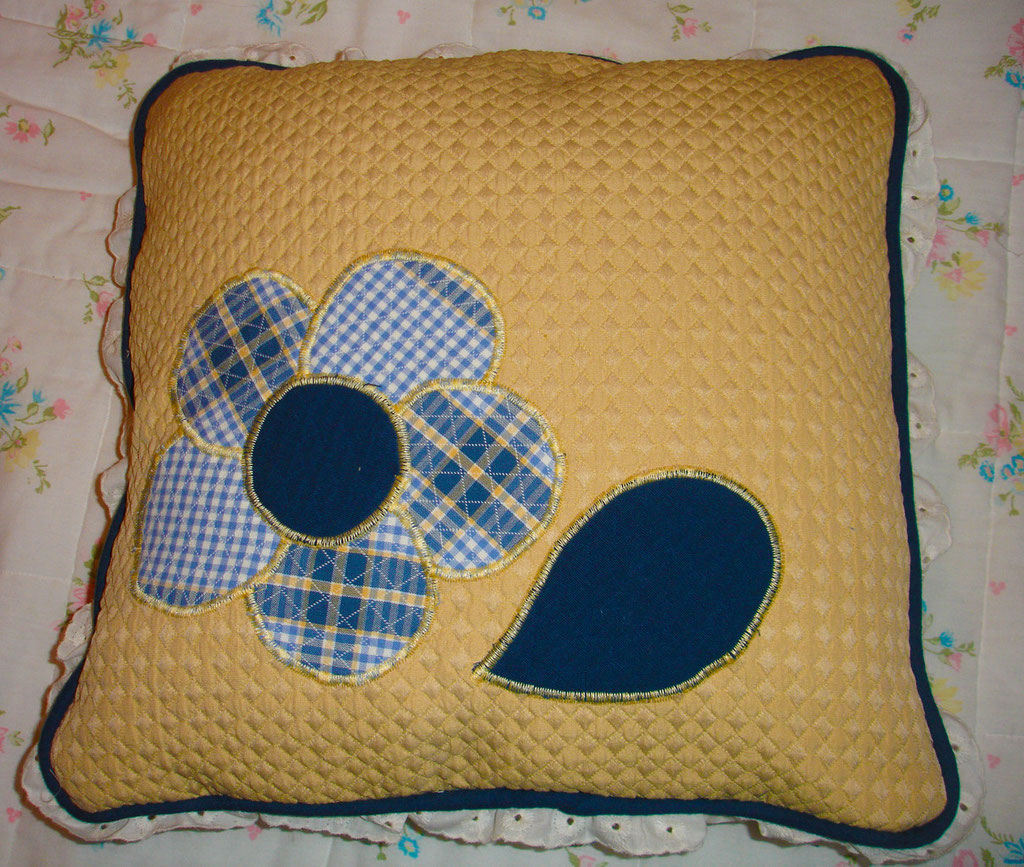Pillow with applique flowers