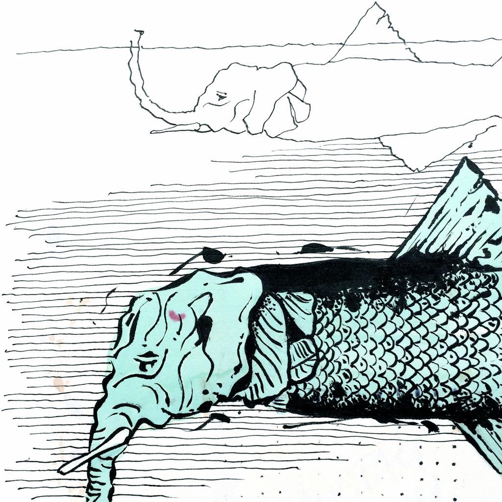 """Der """"Phantish"""" lebt im Meer. Seinen Lebensraum in einer Tiefe von ca. 3000 Meter verlässt er nur zweimal in der Woche, um mit seinem Rüssel an der Oberfläche Luft zu holen."""
