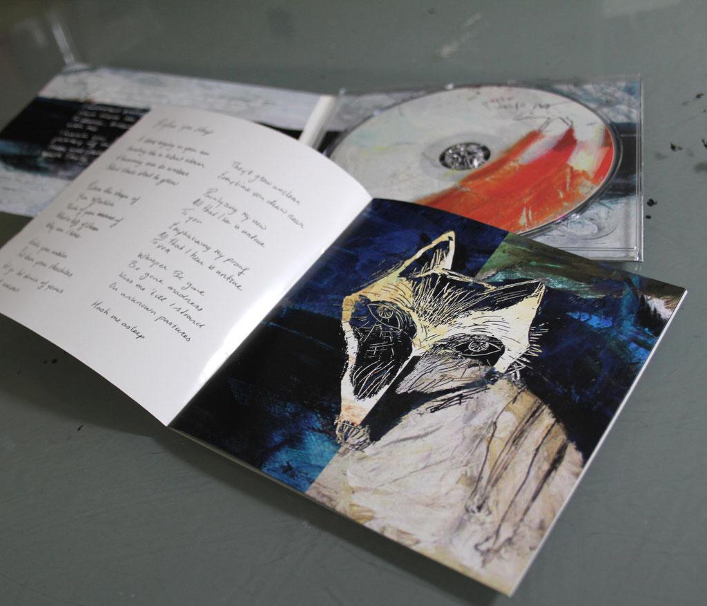 """Illustration&Gestaltung von CD, Booklet und Digipack für die EP """"Before you sleep"""" der niederländischen Band """"Paperwolfe"""" (2017), Technik: Acryl auf Collagen und Zeichnungen mit Tinte und Stahlfeder, digital kombiniert und bearbeitet"""