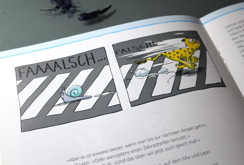 """Broschüre für die Aktion """"Sicherer Schulweg""""(2015), Technik: Bleistiftzeichnungen, digital koloriert"""