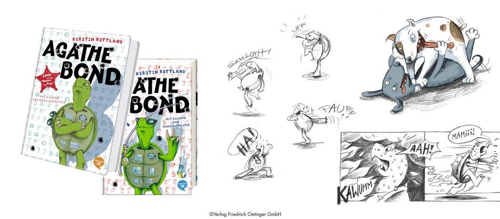"""Characterdesign, Cover- und Innenbuchillustration der Comic-Roman-Reihe um Geheimagentenschildkröte """"Agathe Bond"""" (Verlag Friedrich Oetinger), Technik: Bleistiftzeichnungen, digital koloriert"""