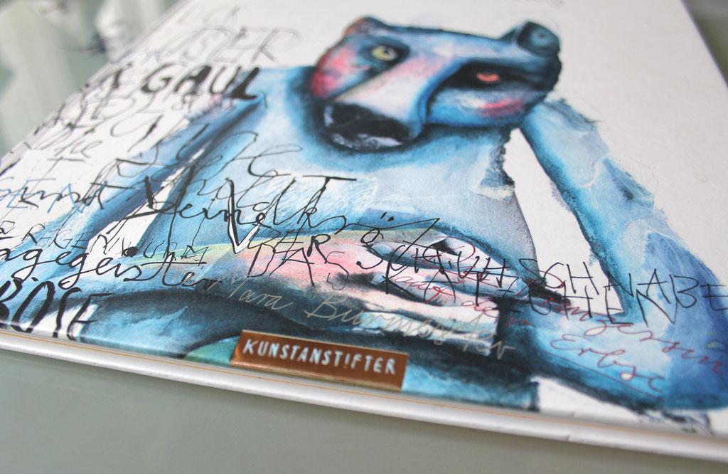 """""""Grossmutters Pelz"""" (Bilderbuch für Erwachsene, 2015, Kunstanstifter Verlag), Technik: Bilder: Acryl auf Papiercollagen, Texte: Tinte mit Stahlfeder und Pinsel"""