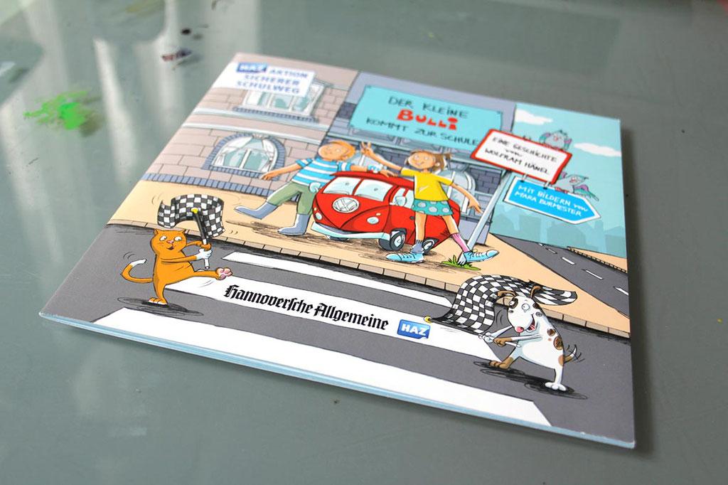 """Illustrationen für die Aktion """"Sicherer Schulweg""""(2015), abgedruckt in der Hannoverschen Allgemeinen Zeitung und einer Broschüre für Kinder, Technik: Bleistiftzeichnungen, digital koloriert"""