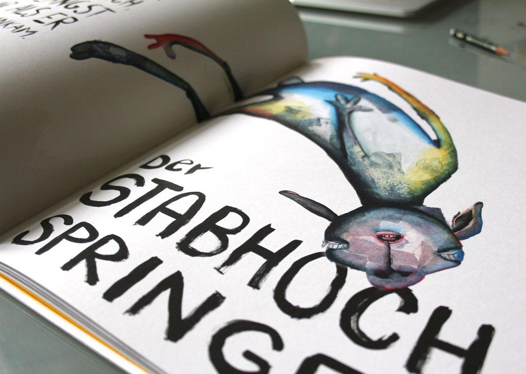 """Doppelseite aus dem Buch """"Grossmutters Pelz"""" (2015, Kunstanstifter Verlag), Technik: Bilder: Acryl auf Papiercollagen, Texte: Tinte mit Stahlfeder und Pinsel"""