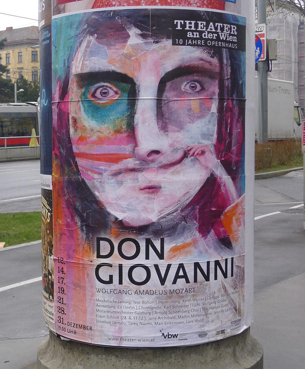 Plakat der Werbekampagne des Theater an der Wien (Saison 2016/17), Technik: Acryl auf Papiercollage/teilweise digital nachbearbeitet, Konzept,Layout&Typografie: Werbeagentur beyond
