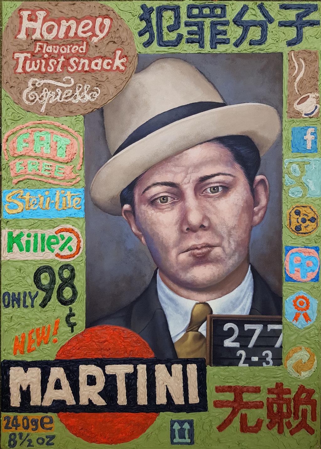 Gemälde 630,MARTINI, Acryl auf Hartfaserplatte,2019, 50 x 70 cm