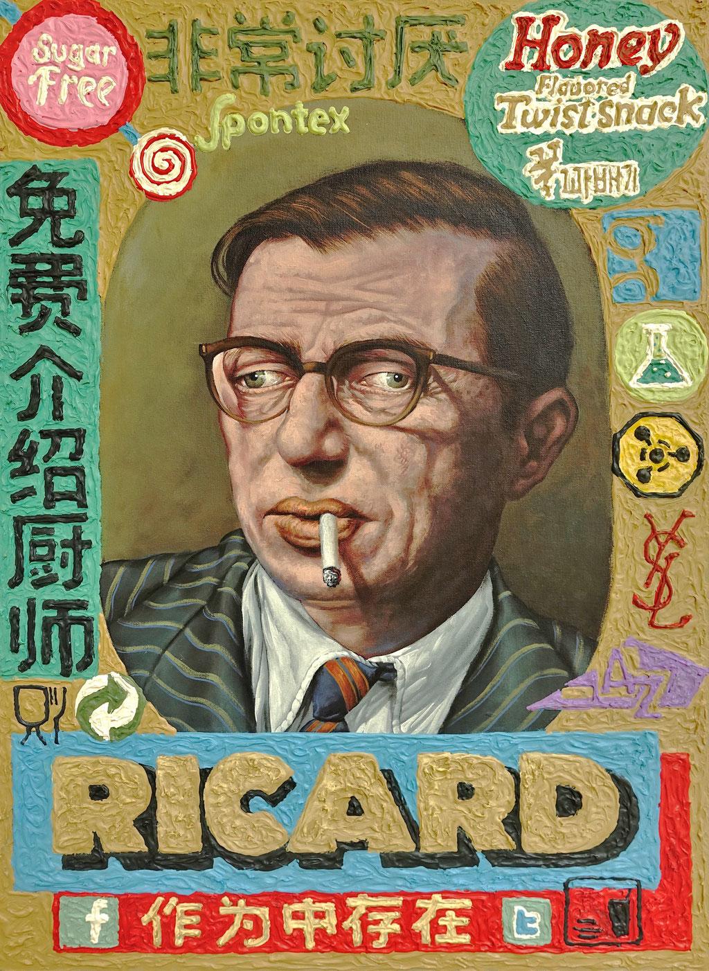 Gemälde 540, Ricard , Acryl auf Hartfaserobjekt, 2016, 50 x 70 x 10 cm