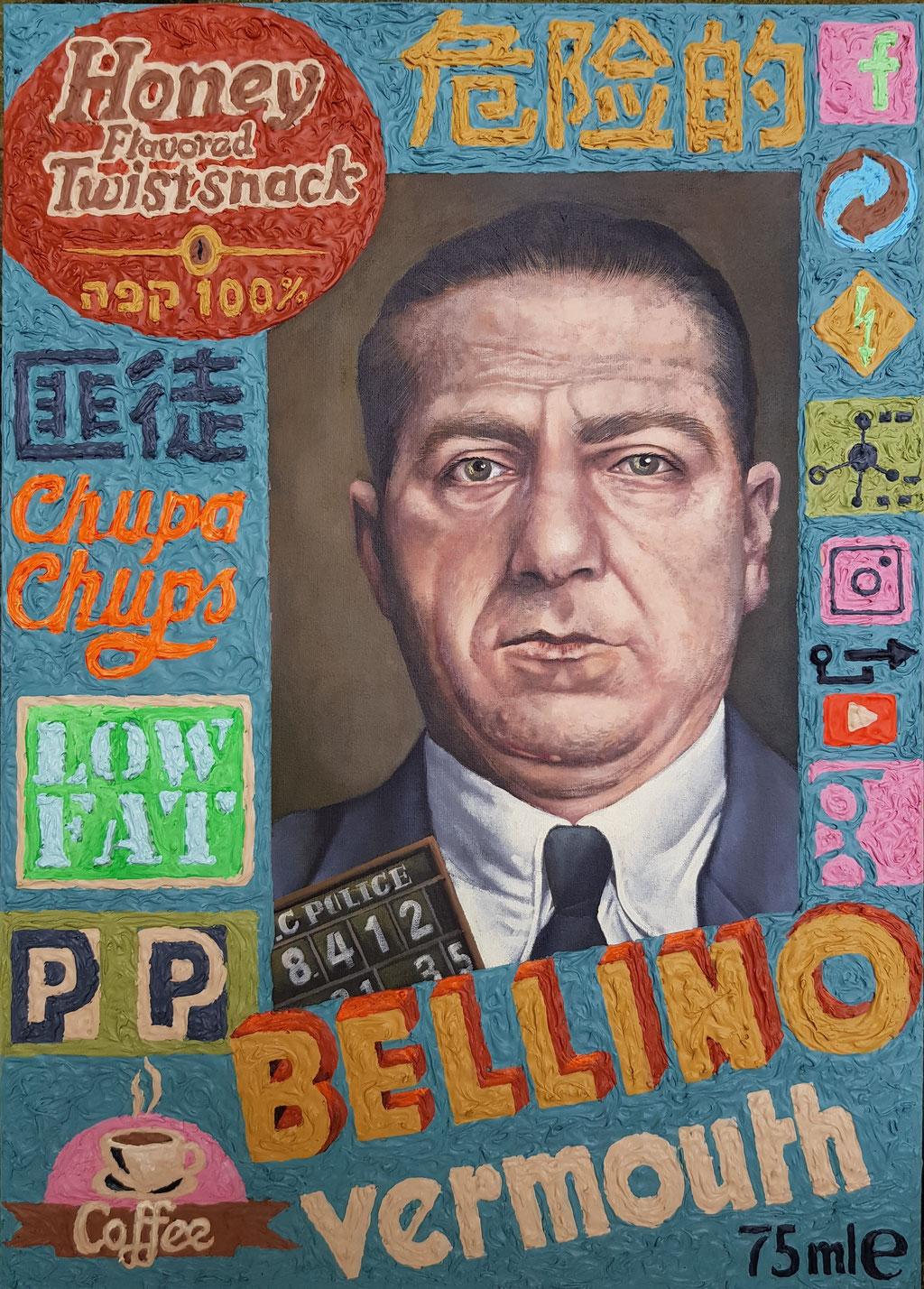 Gemälde 631,BELLINO,Acryl auf Hartfaserplatte,2019, 50 x 70 cm