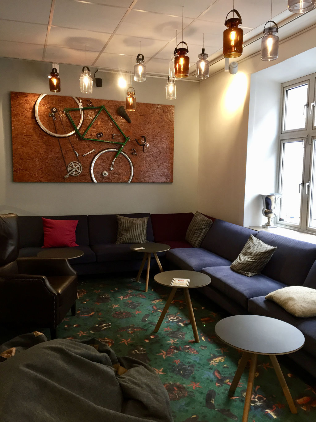 urban house lounge room bicycle art