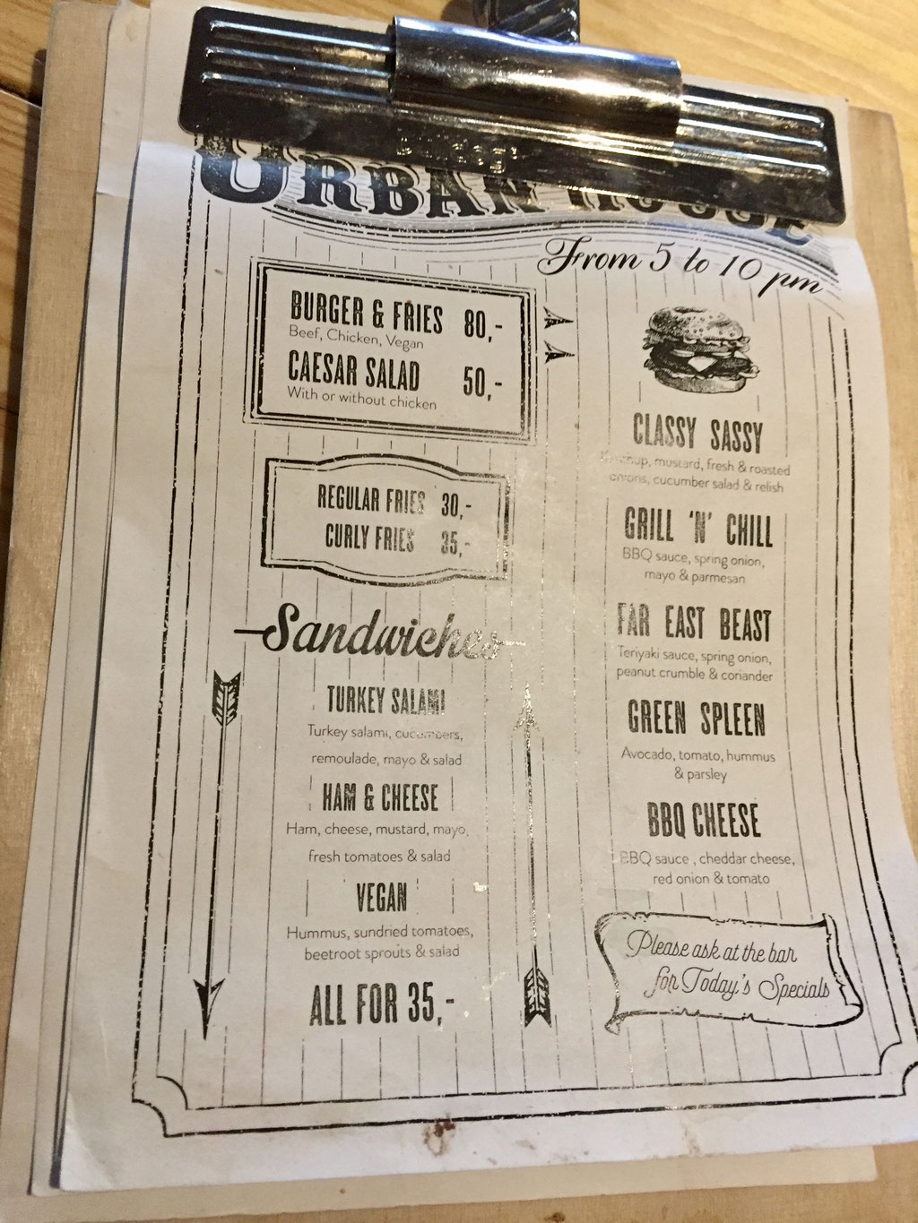 urban house menu
