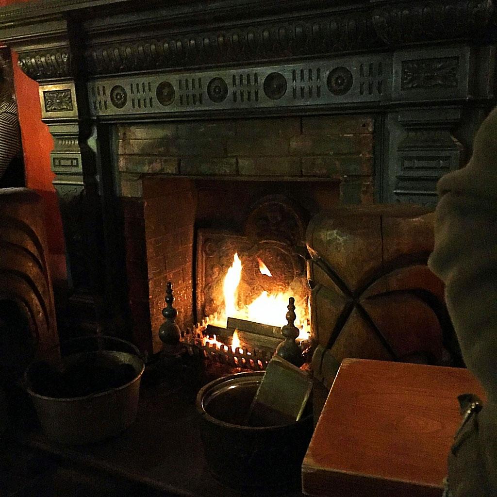 british pub fireplace