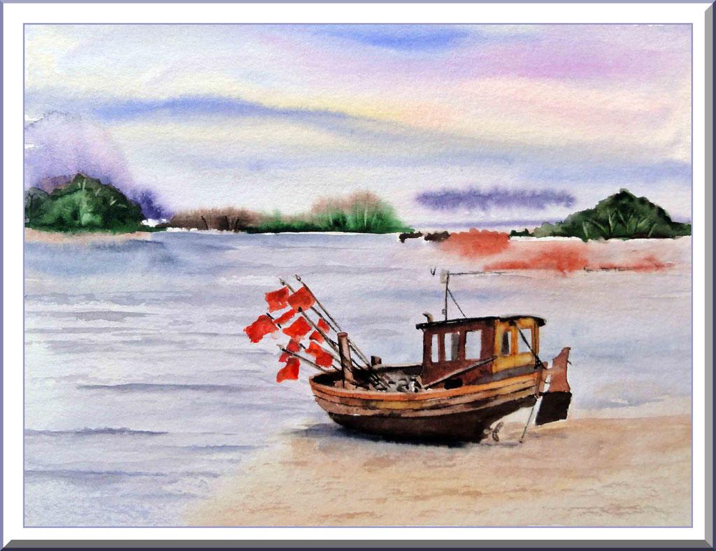 Aquarell Fischerboot am Strand