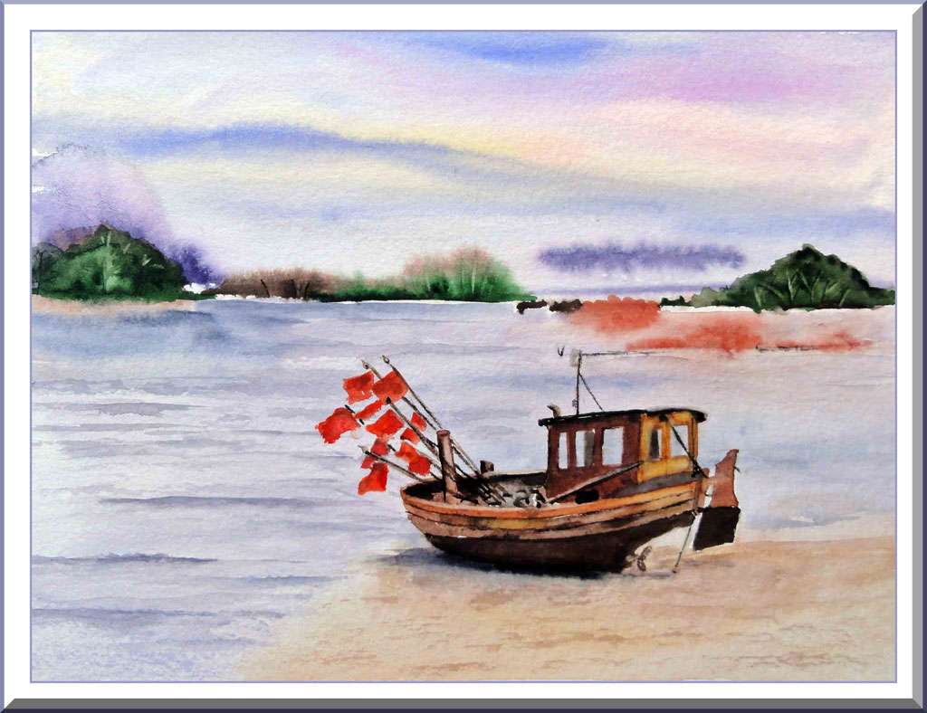 Aquarell Fischerboot am Strand