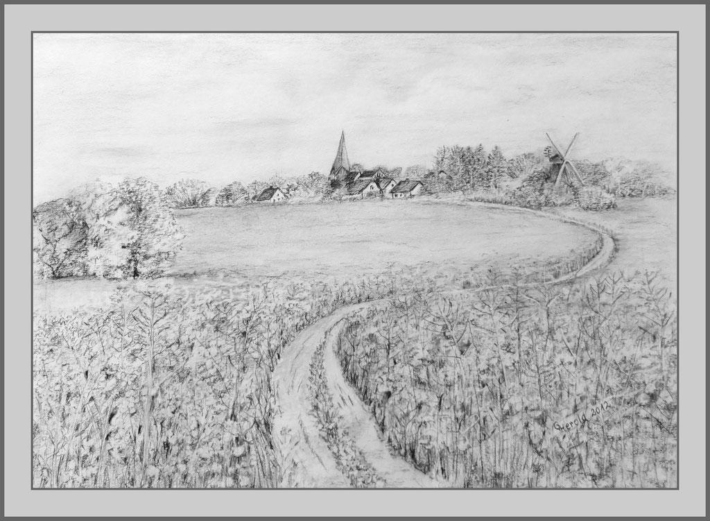 Zeichnung: Blick auf Dorf Lichtenhagen