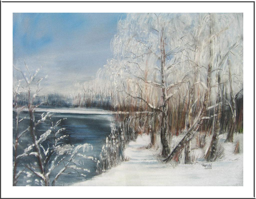 Aquarell mit Kreide: Winter im Fischerdorf bei Rostock