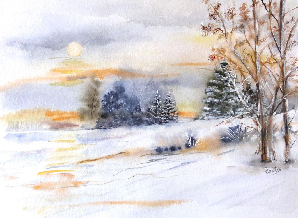 Aquarell und Kreide: Winterlandschaft