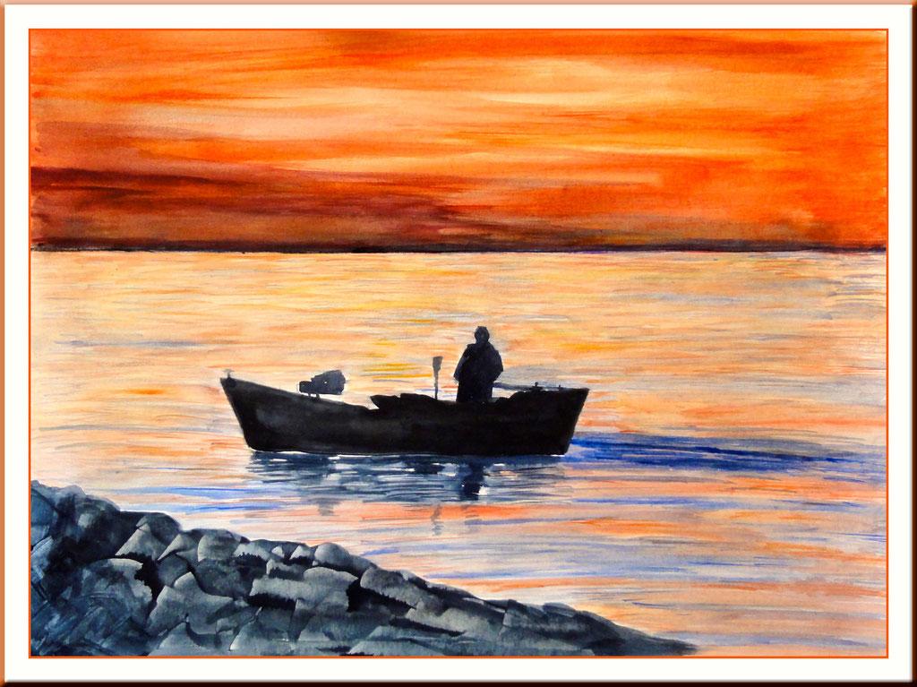 Aquarell Fischer auf der Ostsee