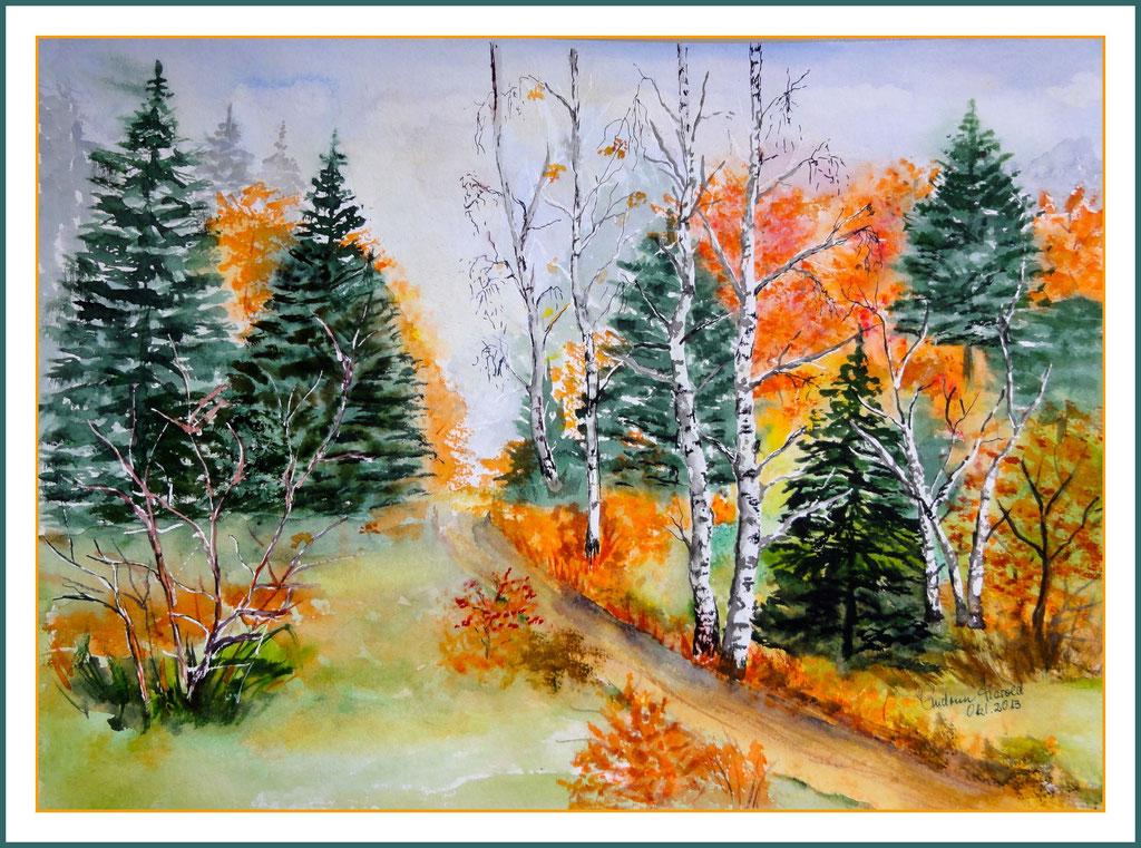 Aquarell Herbstlandschaft