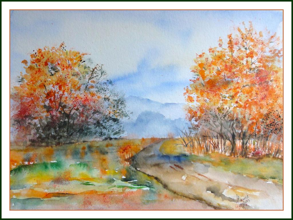 Aquarell : Weg im Herbstwald