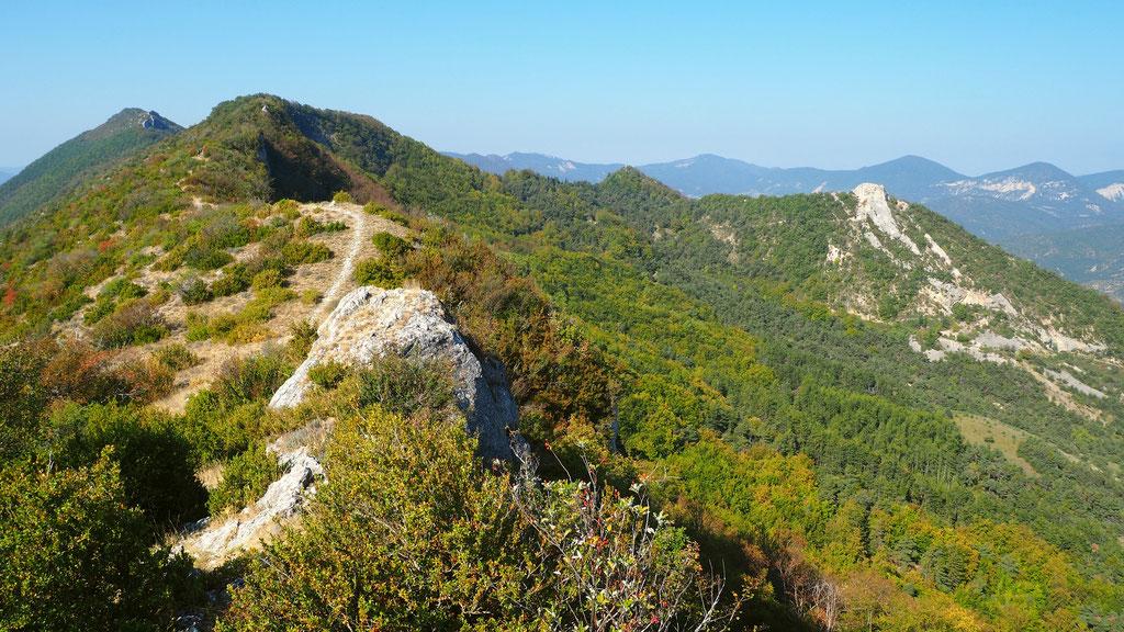 Sur la crête de la montagne de Chabre. Izon Nature : hébergements et table d'hôtes insolites et écoresponsables dans la Drôme Provençale, trek dans la Méouge